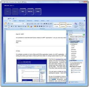WPF Hosting Word